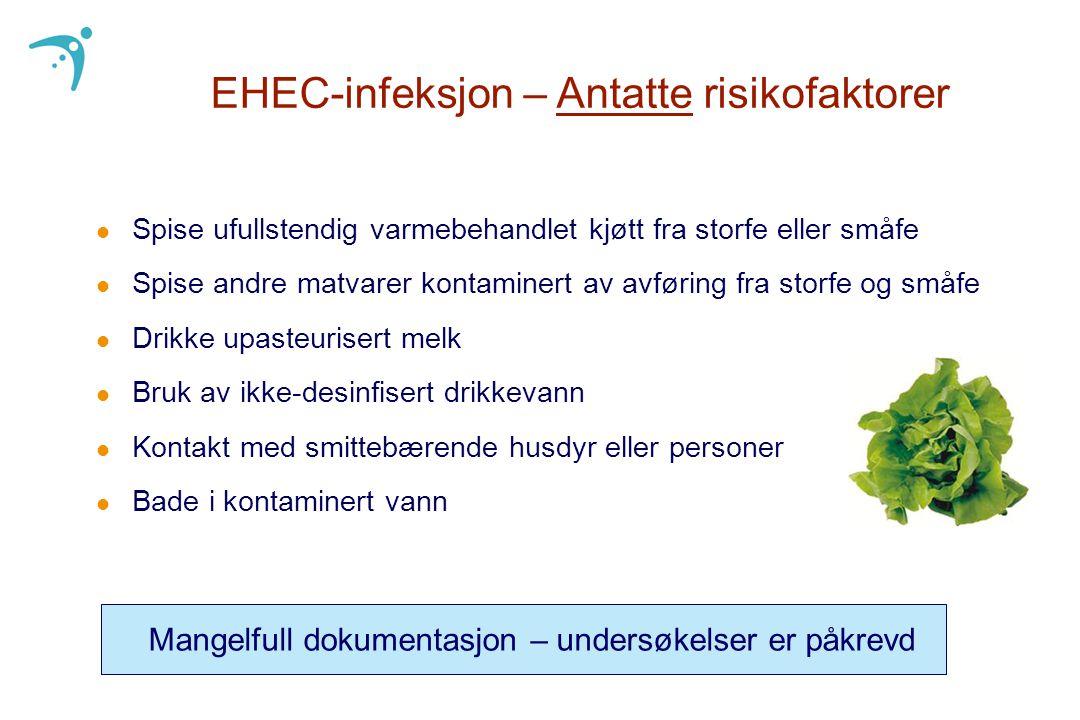 EHEC-infeksjon – Antatte risikofaktorer