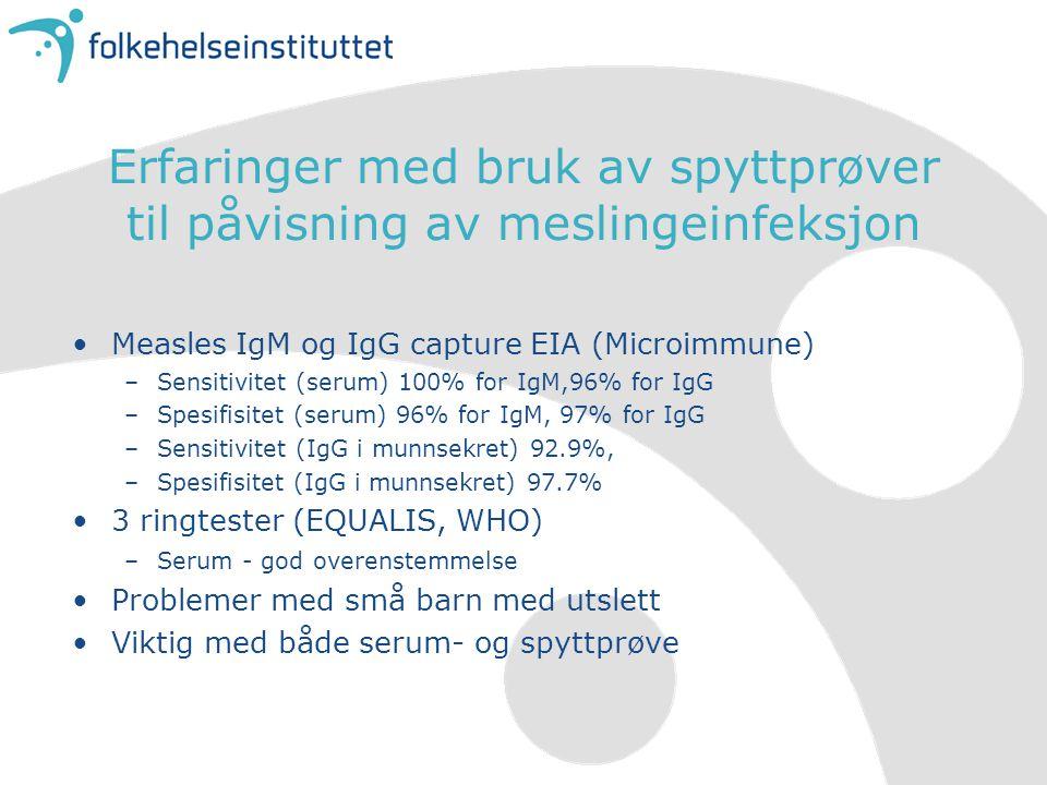 Erfaringer med bruk av spyttprøver til påvisning av meslingeinfeksjon