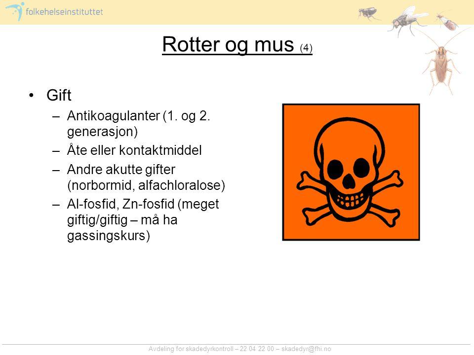 Rotter og mus (4) Gift Antikoagulanter (1. og 2. generasjon)