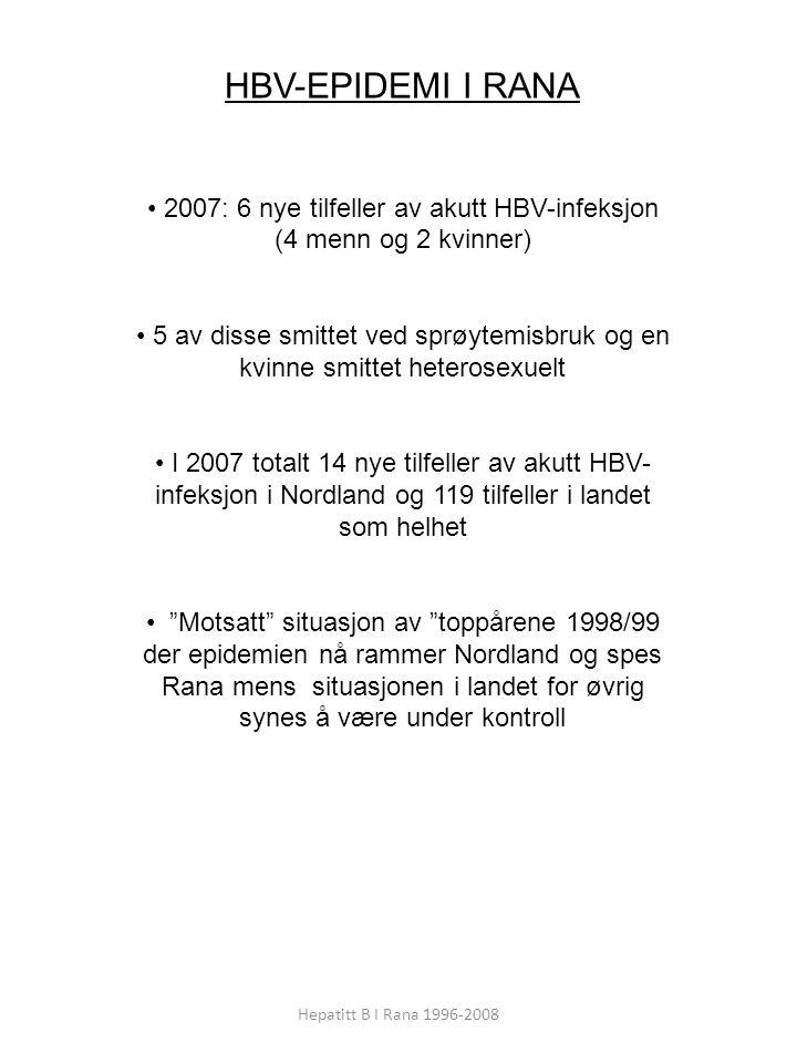 2007: 6 nye tilfeller av akutt HBV-infeksjon (4 menn og 2 kvinner)