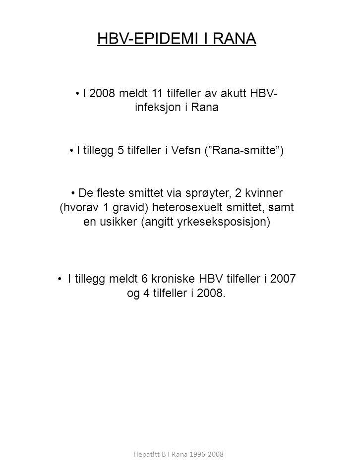 HBV-EPIDEMI I RANA I 2008 meldt 11 tilfeller av akutt HBV-infeksjon i Rana. I tillegg 5 tilfeller i Vefsn ( Rana-smitte )
