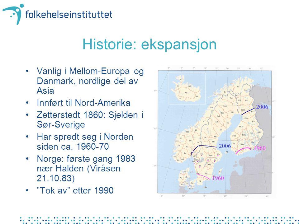 Historie: ekspansjon Vanlig i Mellom-Europa og Danmark, nordlige del av Asia. Innført til Nord-Amerika.
