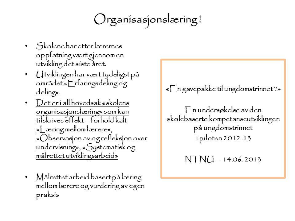 Organisasjonslæring ! Skolene har etter lærernes oppfatning vært gjennom en utvikling det siste året.