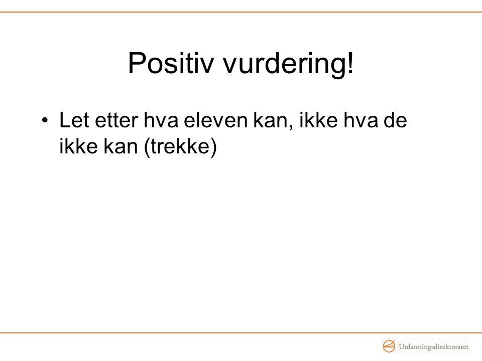 Positiv vurdering! Let etter hva eleven kan, ikke hva de ikke kan (trekke)