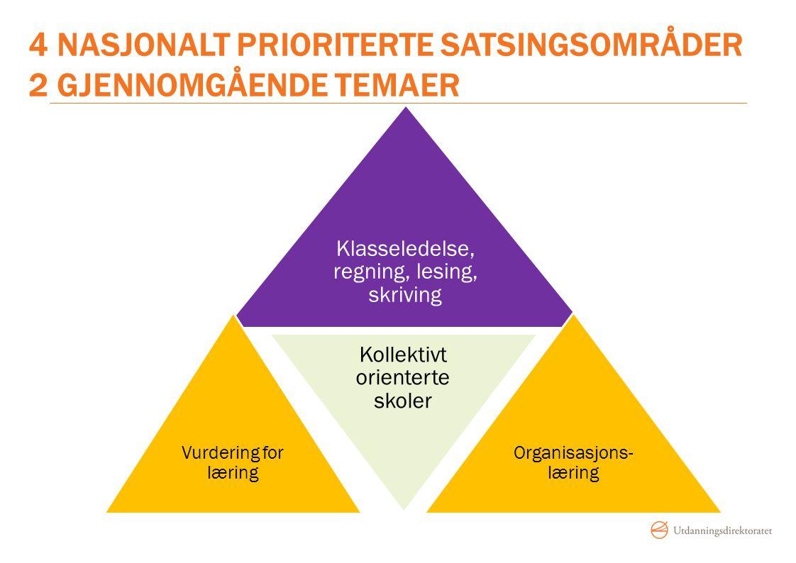 4 nasjonalt prioriterte satsingsområder 2 gjennomgående temaer