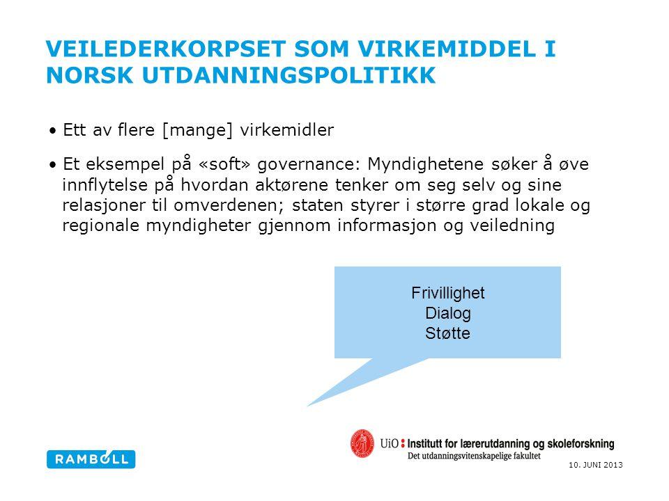 Veilederkorpset som virkemiddel I norsk utdanningspolitikk
