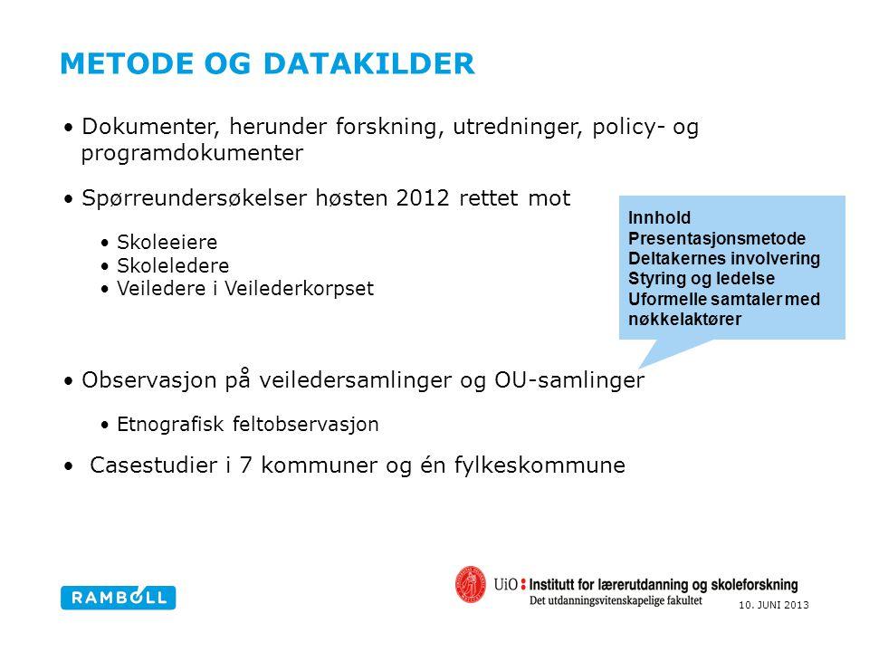 Metode og datakilder Dokumenter, herunder forskning, utredninger, policy- og programdokumenter. Spørreundersøkelser høsten 2012 rettet mot.