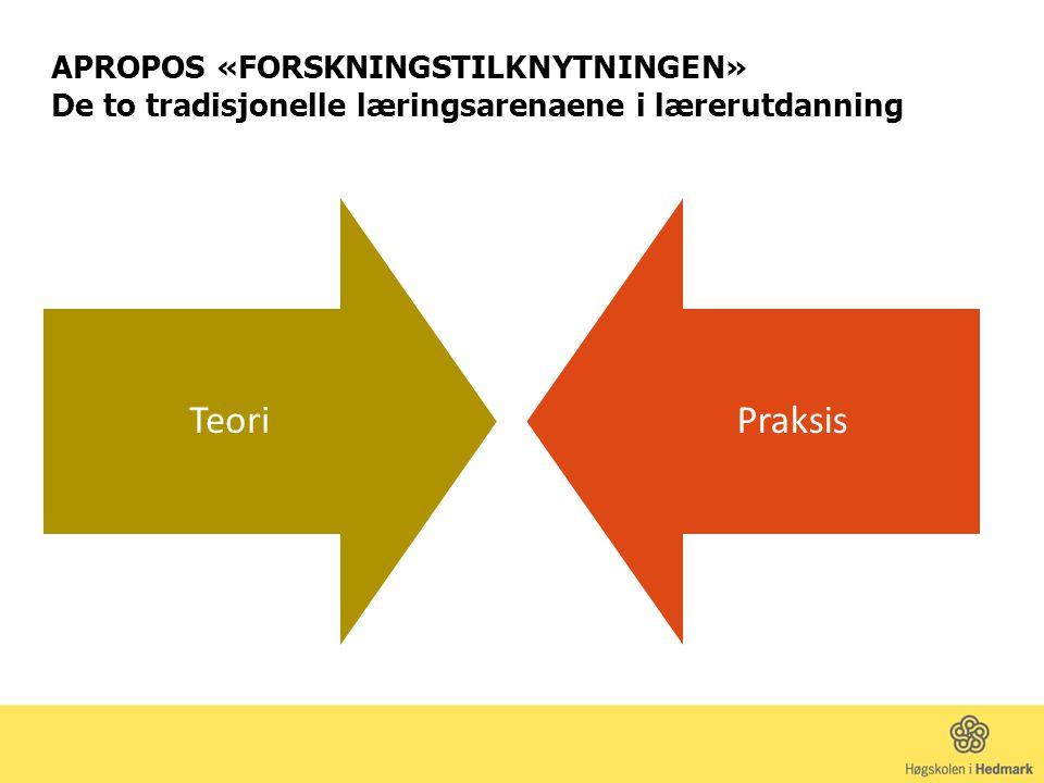 APROPOS «FORSKNINGSTILKNYTNINGEN» De to tradisjonelle læringsarenaene i lærerutdanning