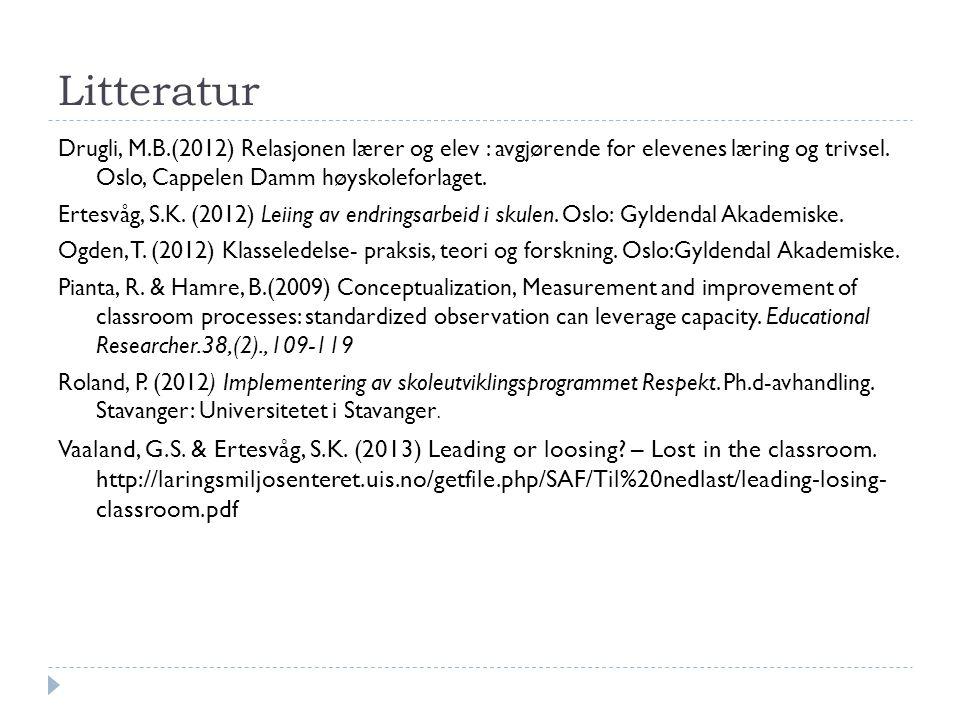 Litteratur Drugli, M.B.(2012) Relasjonen lærer og elev : avgjørende for elevenes læring og trivsel. Oslo, Cappelen Damm høyskoleforlaget.