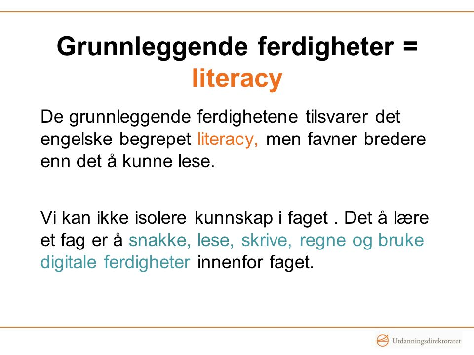 Grunnleggende ferdigheter = literacy