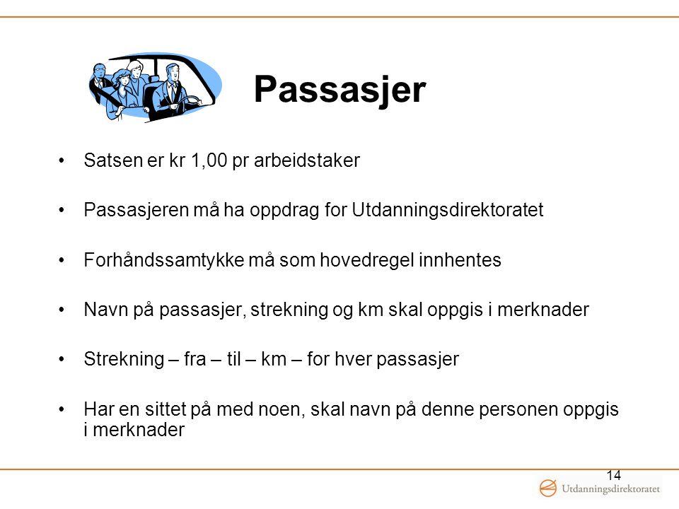 Passasjer Satsen er kr 1,00 pr arbeidstaker