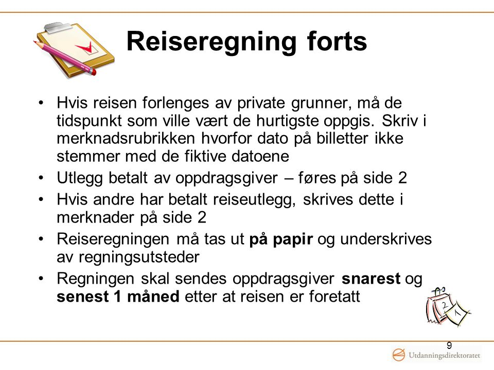 Reiseregning forts