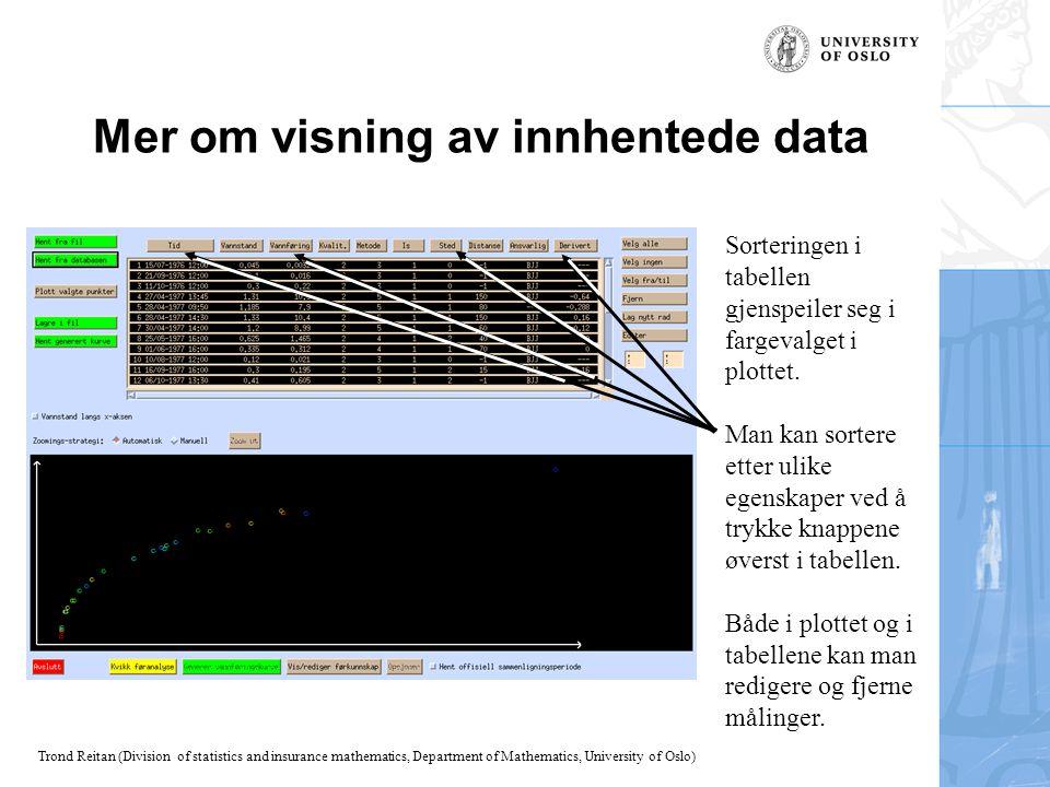 Mer om visning av innhentede data