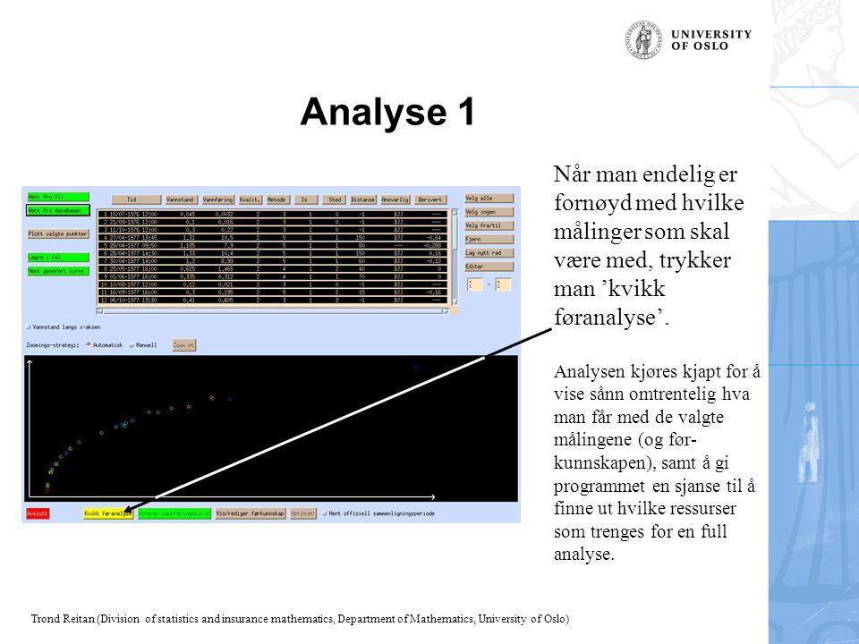 Analyse 1 Når man endelig er fornøyd med hvilke målinger som skal være med, trykker man 'kvikk føranalyse'.
