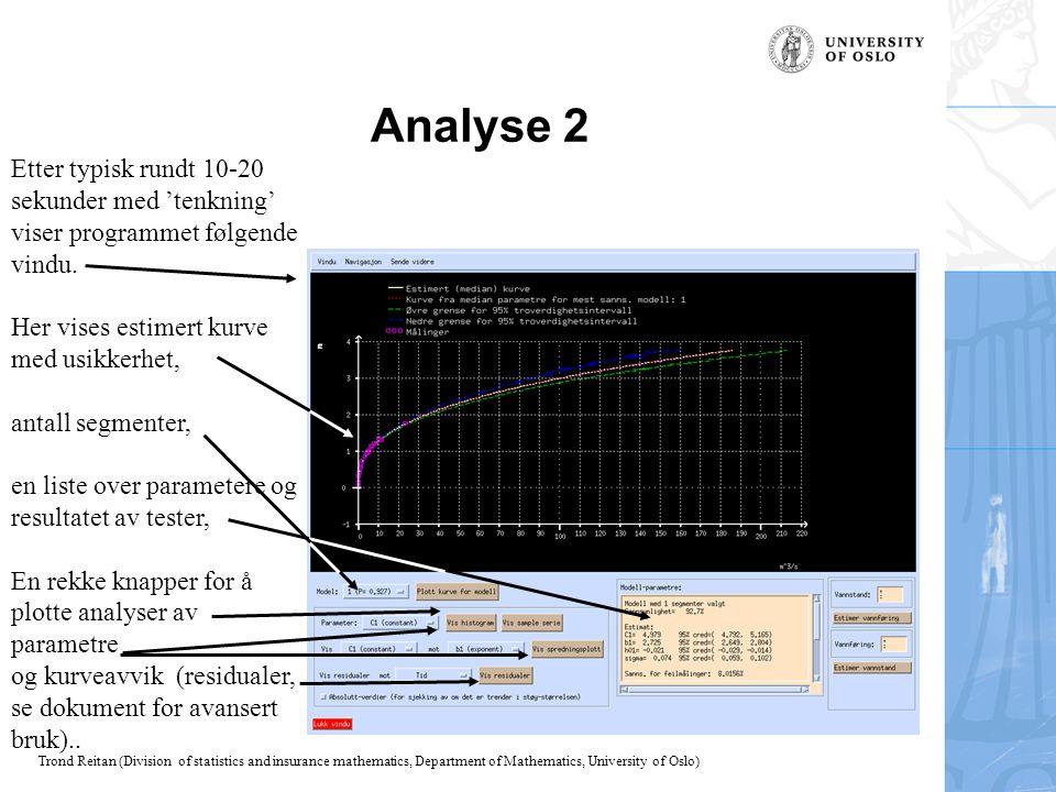 Analyse 2 Etter typisk rundt 10-20 sekunder med 'tenkning' viser programmet følgende vindu. Her vises estimert kurve med usikkerhet,