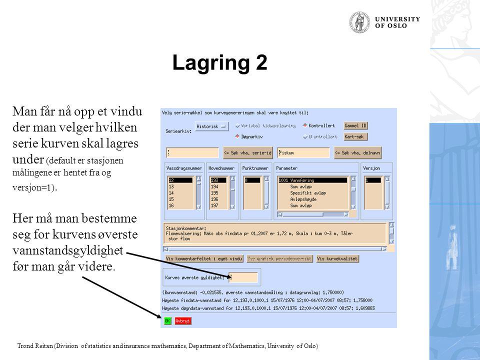 Lagring 2 Man får nå opp et vindu der man velger hvilken serie kurven skal lagres under (default er stasjonen målingene er hentet fra og versjon=1).
