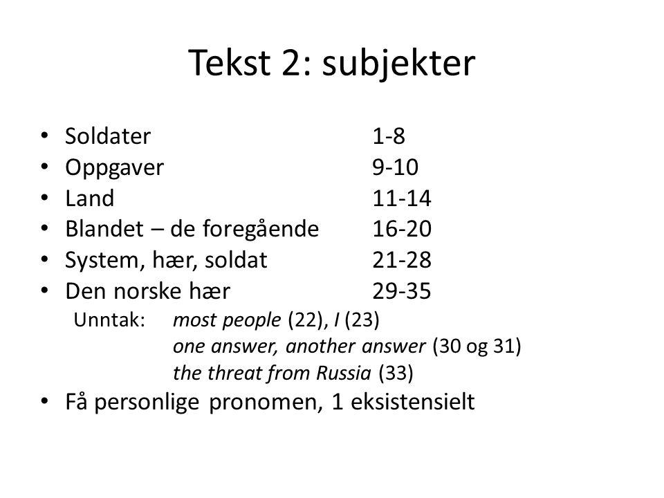 Tekst 2: subjekter Soldater 1-8 Oppgaver 9-10 Land 11-14