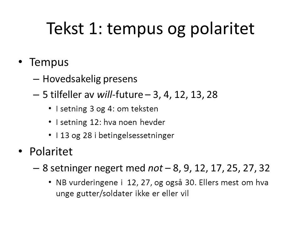 Tekst 1: tempus og polaritet