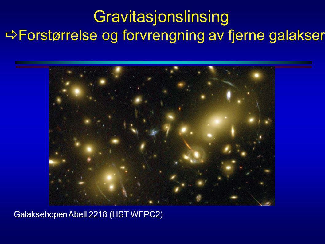 Gravitasjonslinsing aForstørrelse og forvrengning av fjerne galakser