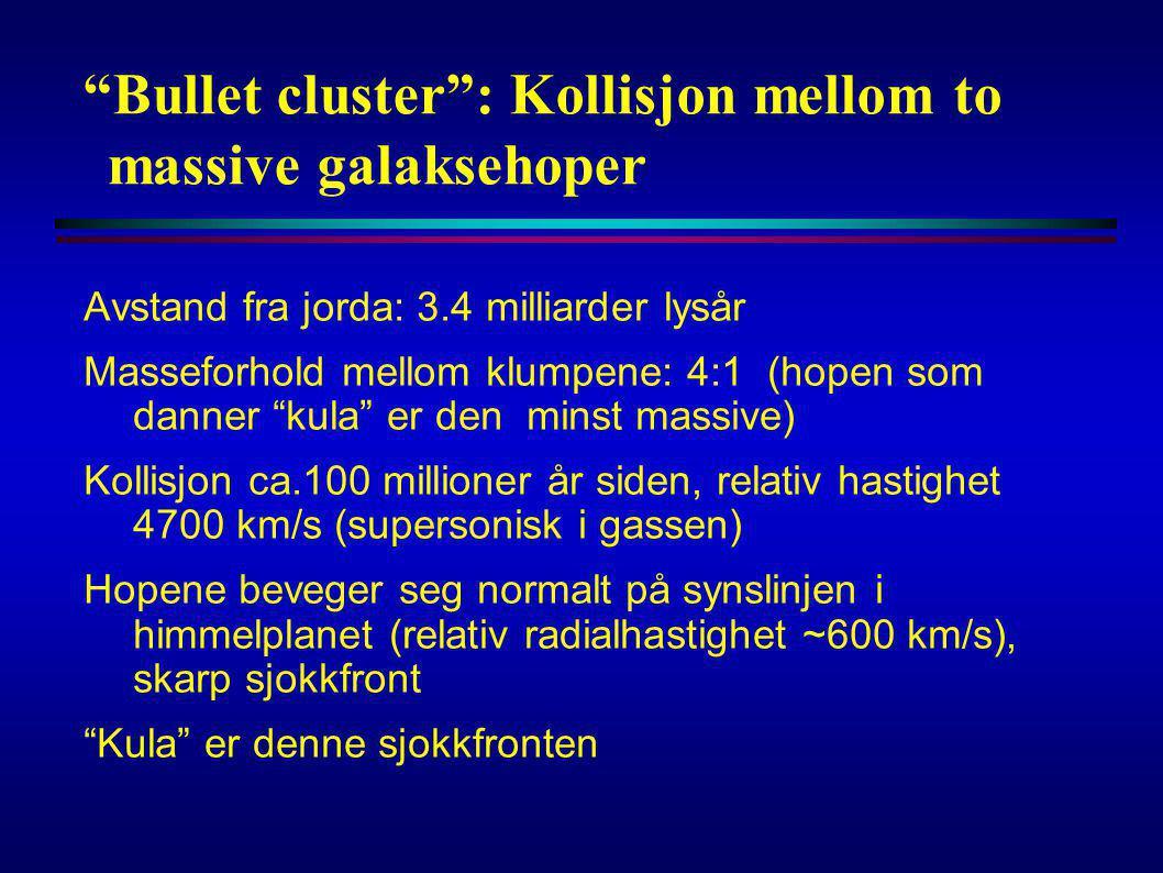 Bullet cluster : Kollisjon mellom to massive galaksehoper