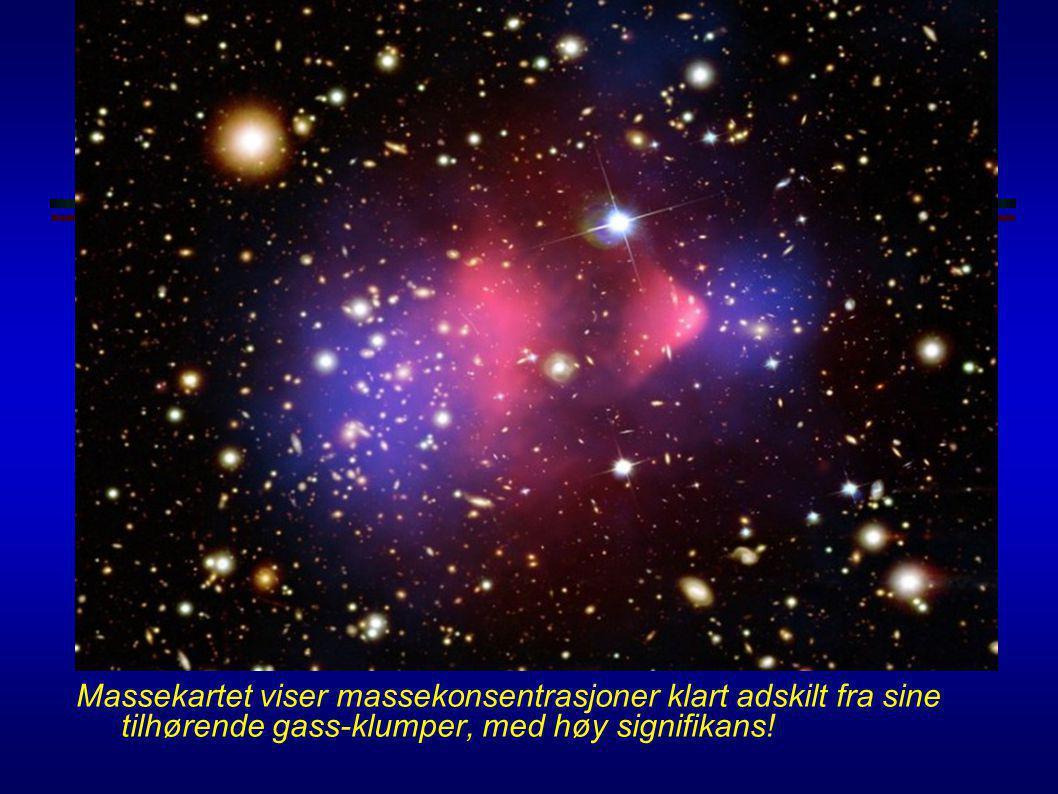 Mørk materie i 1E0657-56 Clowe et al., astro-ph/0608407 (måling av svak gravitasjonslinsing med data fra.