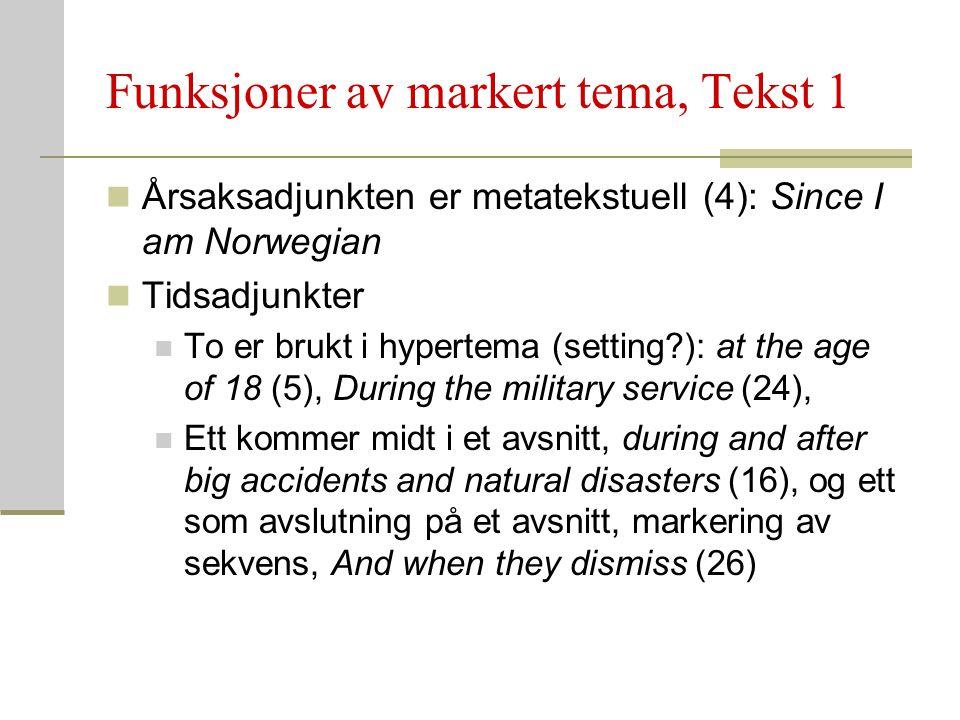 Funksjoner av markert tema, Tekst 1