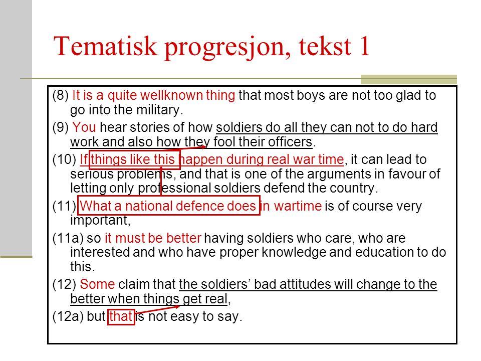 Tematisk progresjon, tekst 1