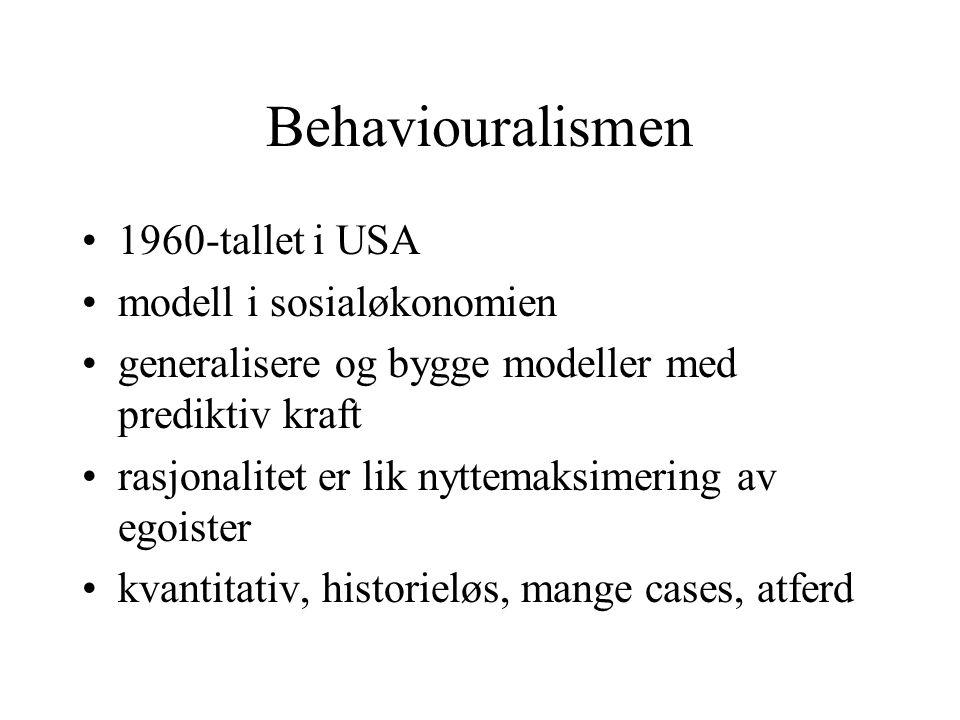 Behaviouralismen 1960-tallet i USA modell i sosialøkonomien