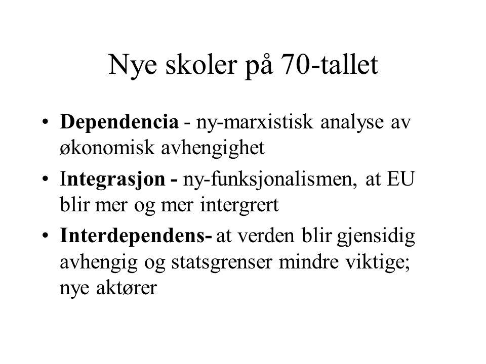 Nye skoler på 70-tallet Dependencia - ny-marxistisk analyse av økonomisk avhengighet.