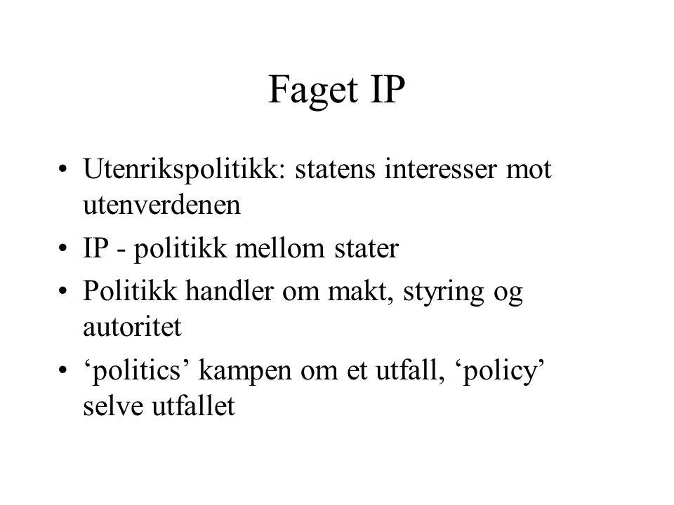 Faget IP Utenrikspolitikk: statens interesser mot utenverdenen