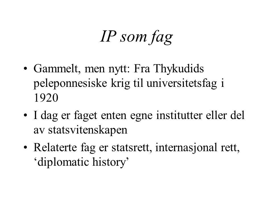 IP som fag Gammelt, men nytt: Fra Thykudids peleponnesiske krig til universitetsfag i 1920.