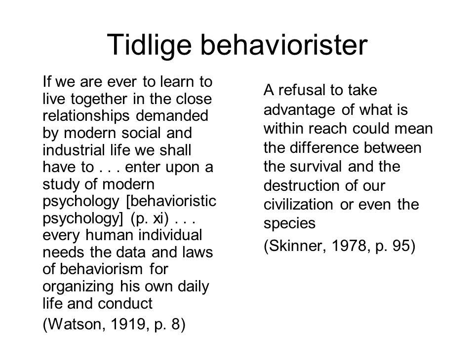 Tidlige behaviorister