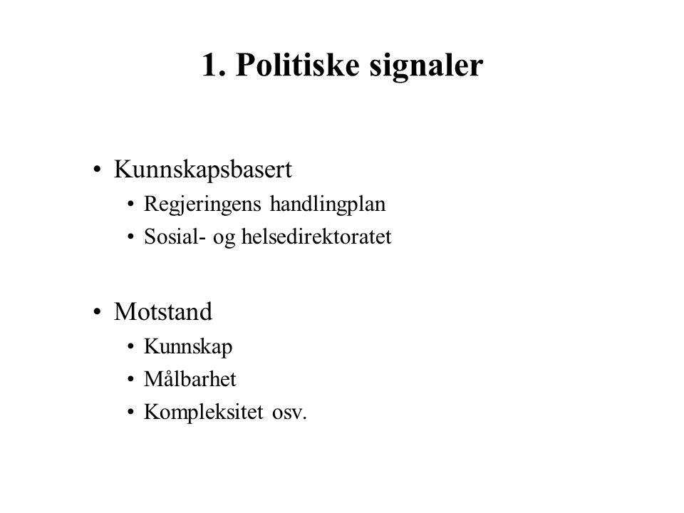 1. Politiske signaler Kunnskapsbasert Motstand