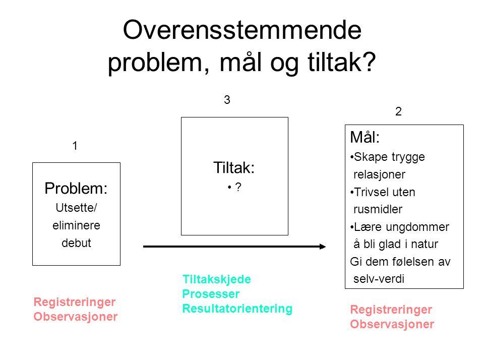 Overensstemmende problem, mål og tiltak