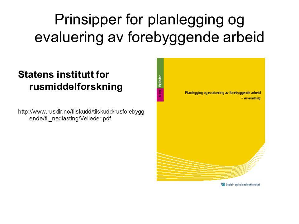 Prinsipper for planlegging og evaluering av forebyggende arbeid