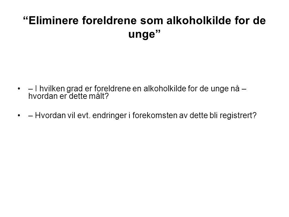Eliminere foreldrene som alkoholkilde for de unge
