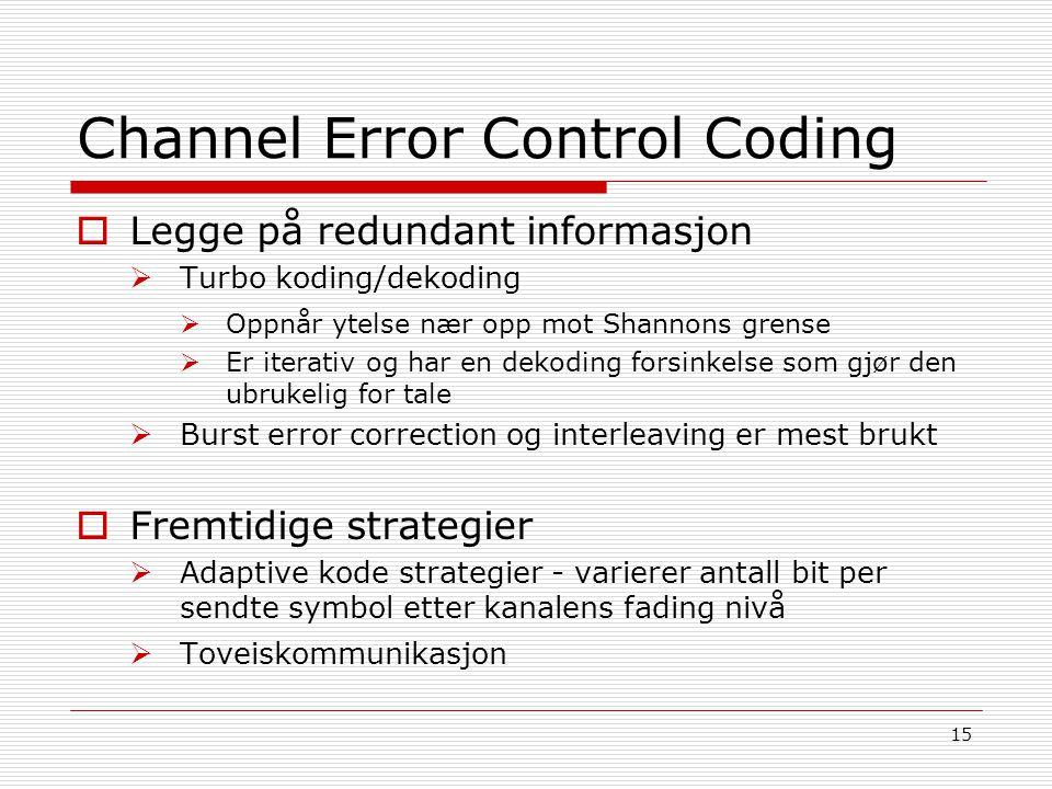 Channel Error Control Coding