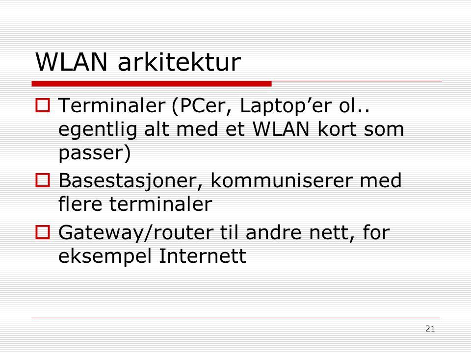 WLAN arkitektur Terminaler (PCer, Laptop'er ol.. egentlig alt med et WLAN kort som passer) Basestasjoner, kommuniserer med flere terminaler.