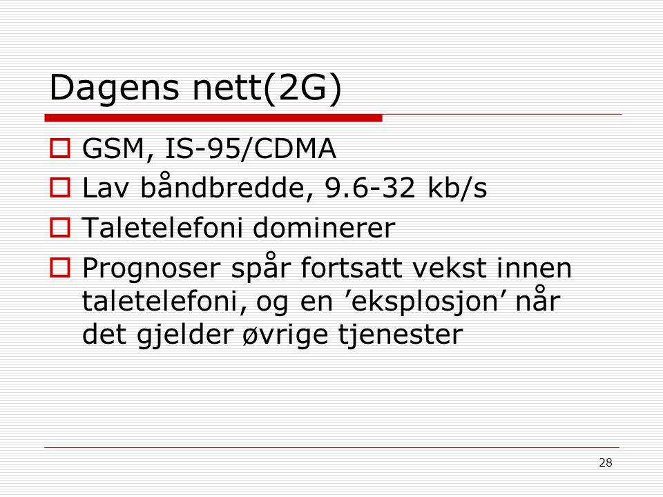 Dagens nett(2G) GSM, IS-95/CDMA Lav båndbredde, 9.6-32 kb/s