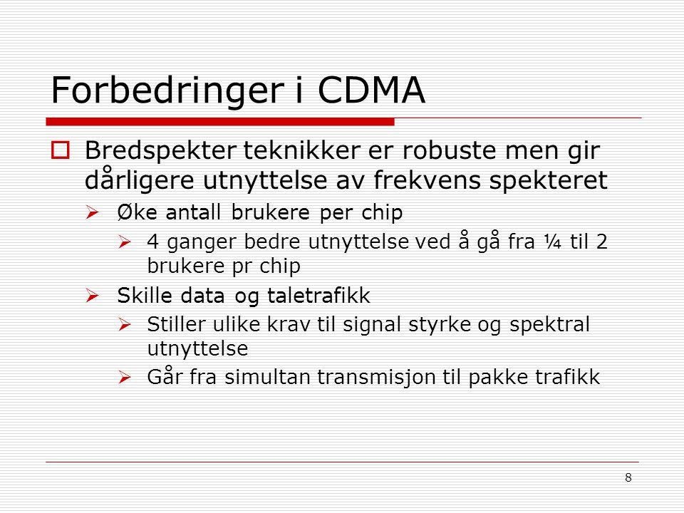 Forbedringer i CDMA Bredspekter teknikker er robuste men gir dårligere utnyttelse av frekvens spekteret.