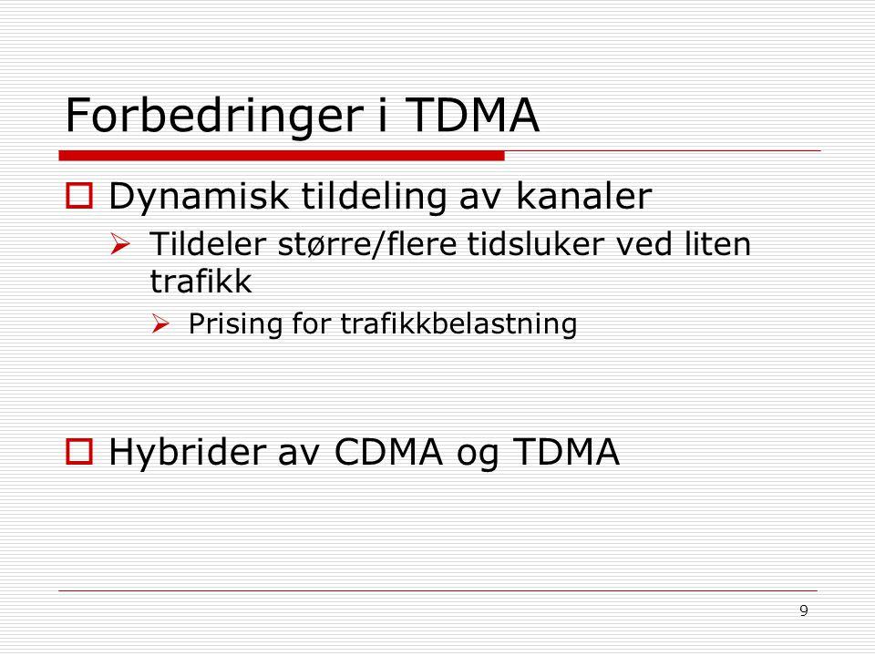 Forbedringer i TDMA Dynamisk tildeling av kanaler