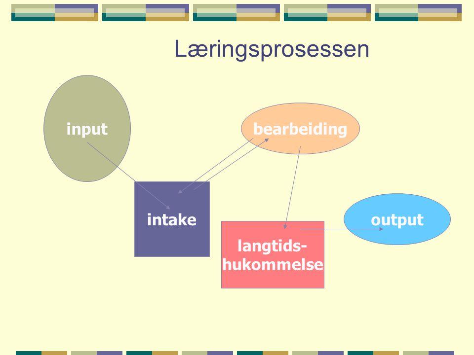 Læringsprosessen input bearbeiding intake output langtids- hukommelse