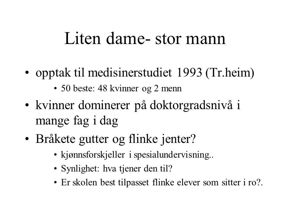 Liten dame- stor mann opptak til medisinerstudiet 1993 (Tr.heim)