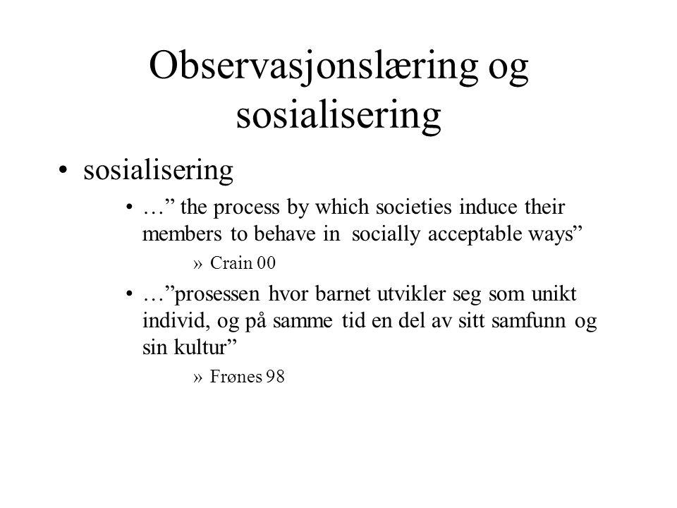 Observasjonslæring og sosialisering
