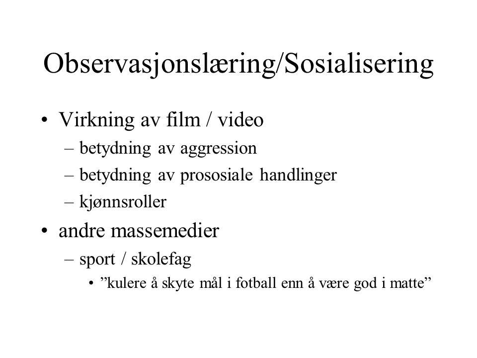 Observasjonslæring/Sosialisering