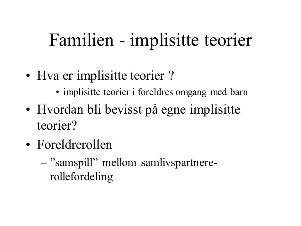 Familien - implisitte teorier