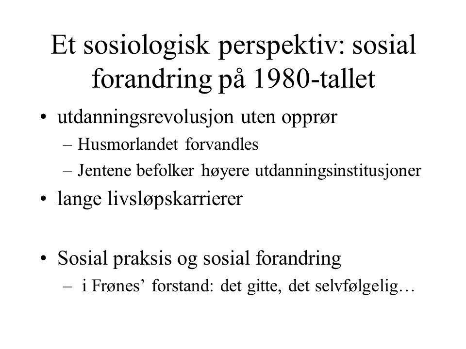 Et sosiologisk perspektiv: sosial forandring på 1980-tallet