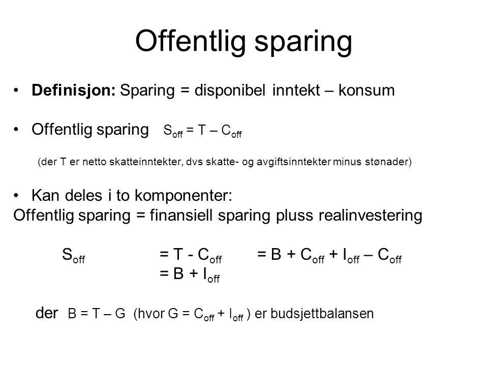 Offentlig sparing Definisjon: Sparing = disponibel inntekt – konsum