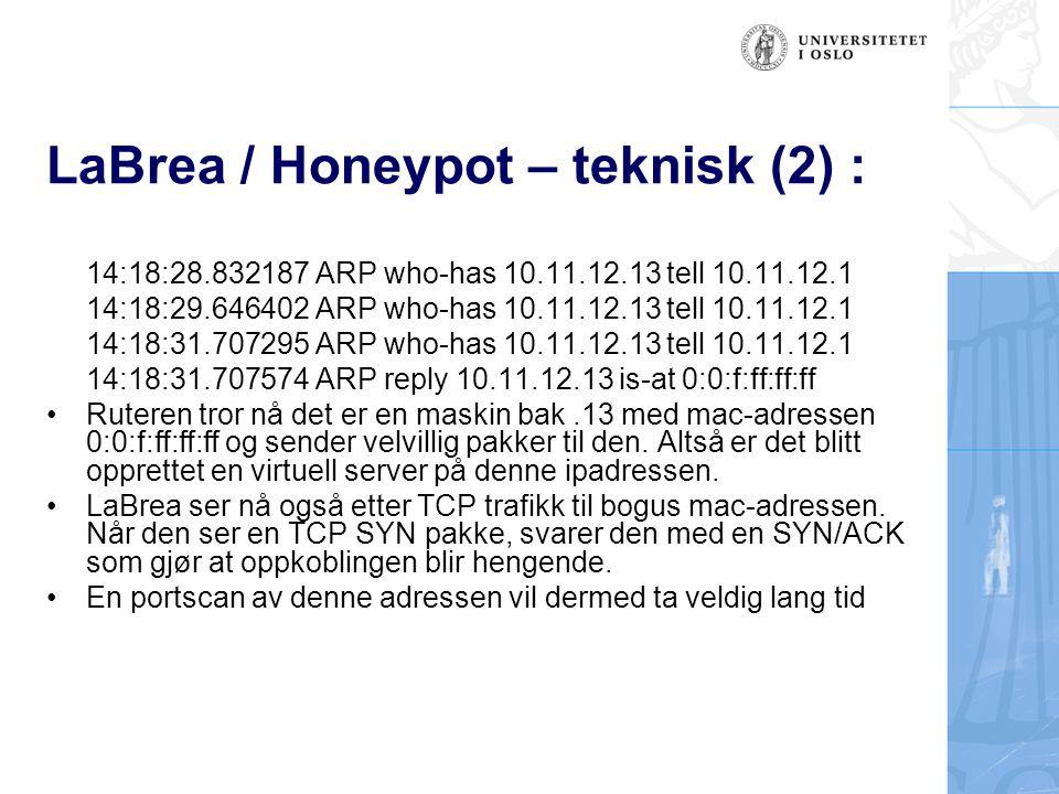 LaBrea / Honeypot – teknisk (2) :