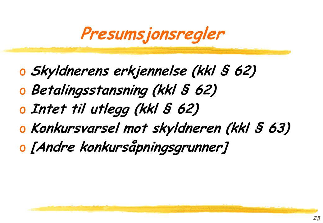 Presumsjonsregler Skyldnerens erkjennelse (kkl § 62)